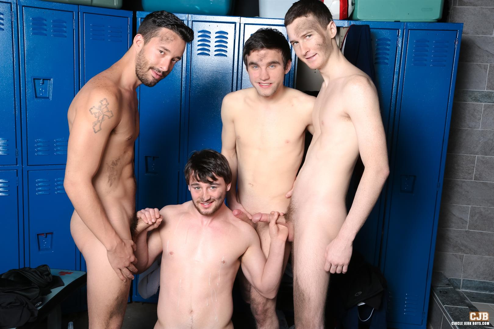 Circle-Jerk-Boys-Andrew-Collins-and-Isaac-Hardy-and-Josh-Pierce-and-Scott-Harbor-Soccer-Guys-Sucking-Cock-Amateur-Gay-Porn-14 After the Game, Soccer Plays Sucking Cock In The Locker Room